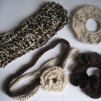 Crocheted hair scrunchies and bands