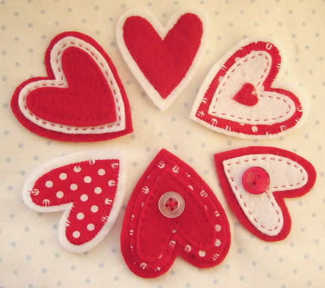 Red and White Polkadot Felt and Cotton Heart  Embellishments