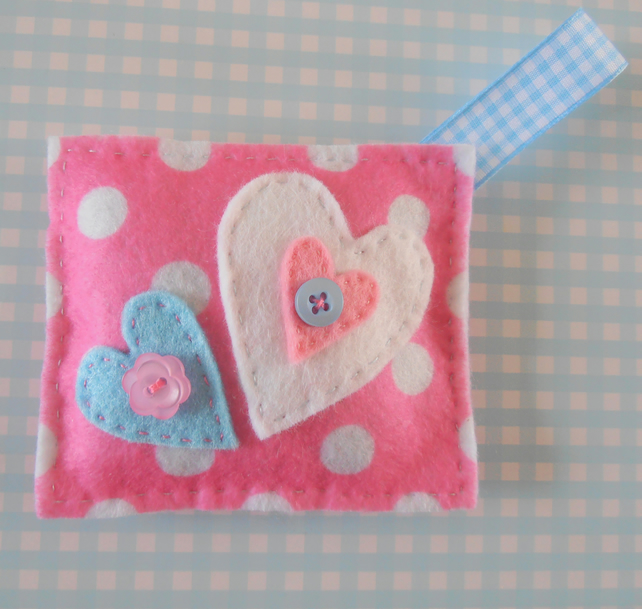 Pretty Hearts felt lavender bag