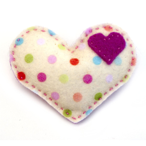 I Heart Polka Dots Pin- pink