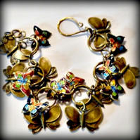 Butterfly Charm Bracelet - antique brass and Cloisonne