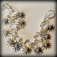 Sunflowers and Crystals Charm Bracelet