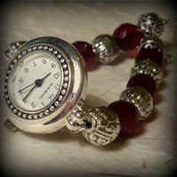 Garnet and Silver Beaded Party Watch