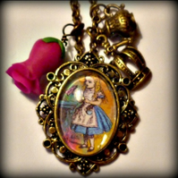 Alice in Wonderland Pendant - Crowns andTeapots!