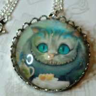 Cheshire Cat Altered Art Pendant