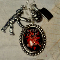 Keep Calm and Eat Brains Zombie Necklace