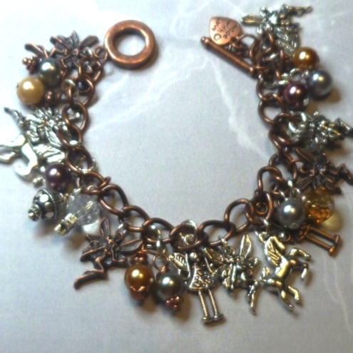 SIlver and Copper Fairies Charm Bracelet