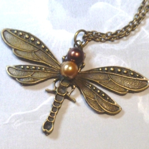 Antique Bronze Dragonfly Pendant