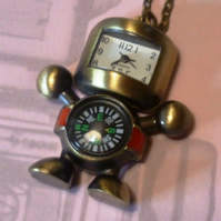 Robot Pocket Watch and Compass