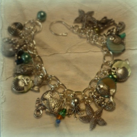 Mermaid, Seahorse and Starfish Charm Bracelet