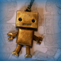 Big Robot Pendant - Antique Bronze