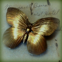 Antique Bronze Butterfly Brooch