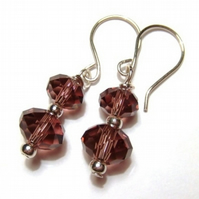 PIF Sterling Silver and Faceted Amethyst Glass Earrings