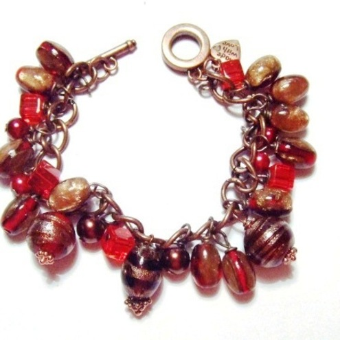 Fierey Orange and Red Beaded Charm Bracelet