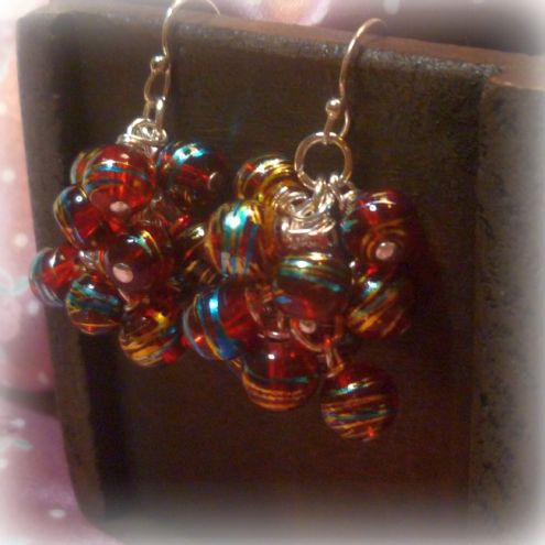 Rainbow Glass Beaded Bauble Earrings with Sterling Silver Ear WIres
