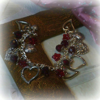Hearts and Stars Charm Bracelet with Garnet Coloured Beads and Stars
