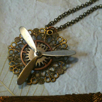 Steampunk pendant, Steampunk Necklace, Steampunk Propeller Pendant, with Filigre