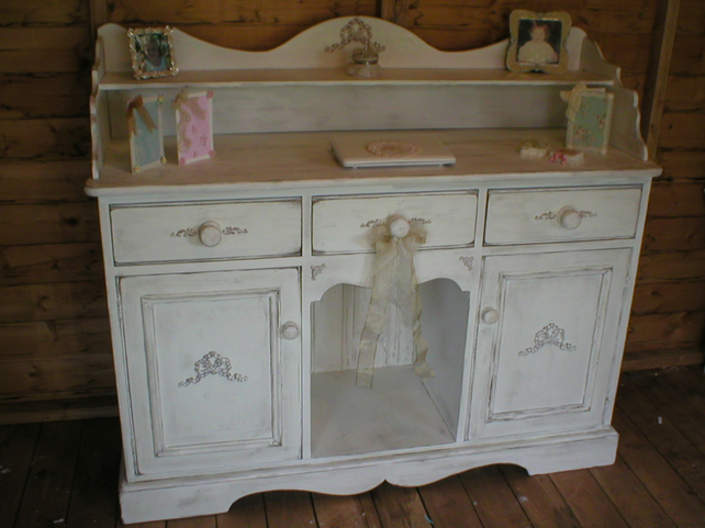 shabby chic chalk aged white sideboard buffet d folksy. Black Bedroom Furniture Sets. Home Design Ideas
