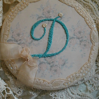 Monogrammed D hand stitched shabby roses plaque letter initial hoop
