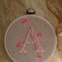Romantic monogrammed initial hand stitched shabby chic roses plaque frame