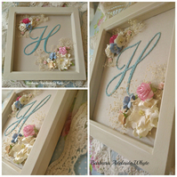 Personalised hand stitched H fancy script initial letter monogram box frame