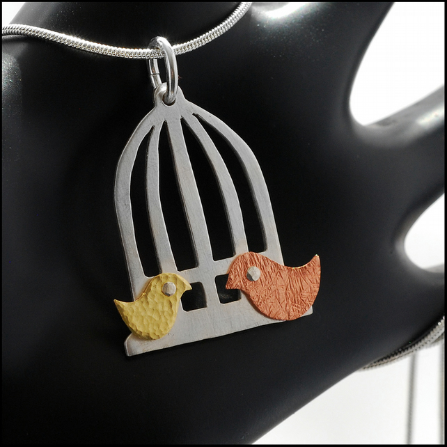 Silver, Copper & Brass Riveted Birdcage Pendant