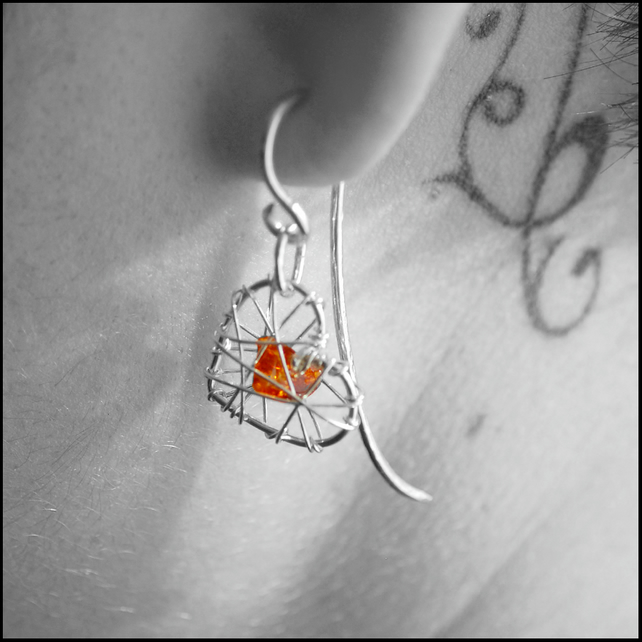Amber Cage Heart Earrings