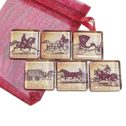 Vintage Horses & Carridges Fridge Magnets