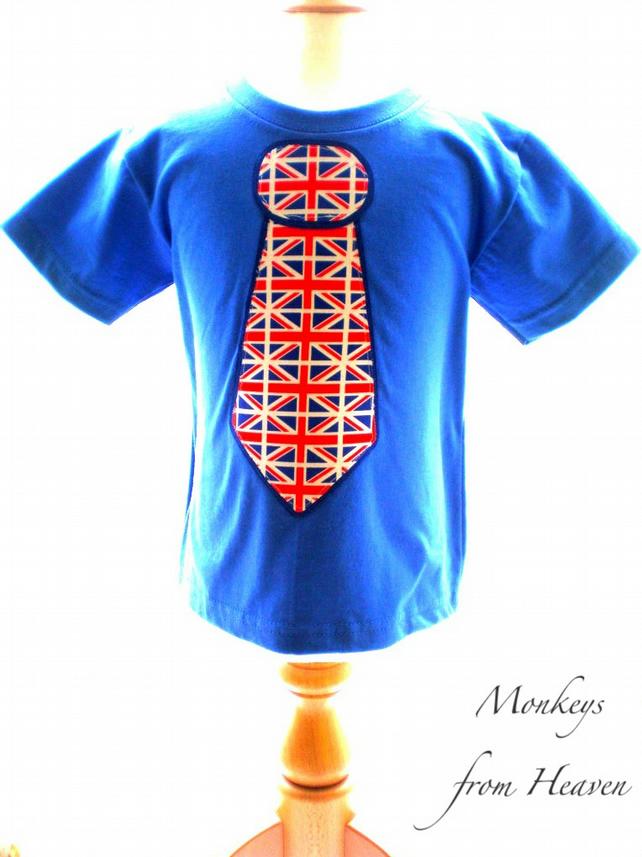 Jubilee Top Olympic T-shirt Union Jack Boys Blue Top up to 14yrs Made in England