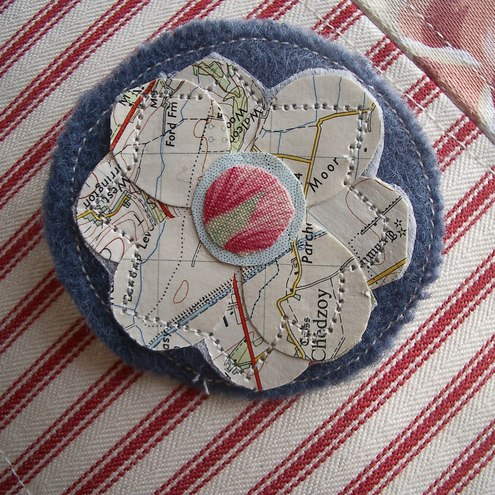 Recycled Map Brooch