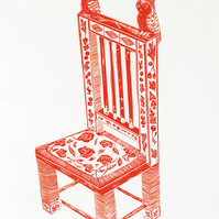 Arts and Crafts Chair - Lino Cut