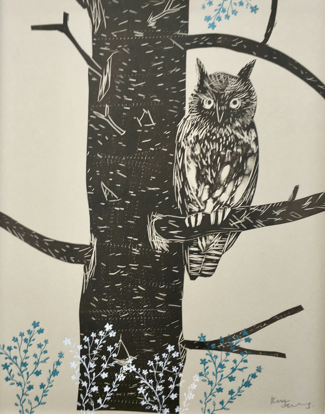 Short Eared Owl - Lino cut