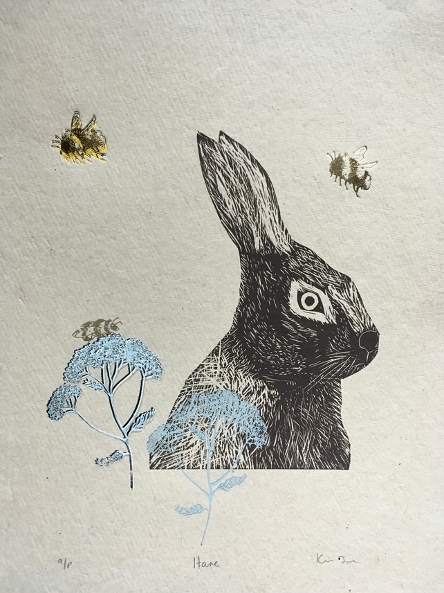 Hare and Bees - Lino Cut Print