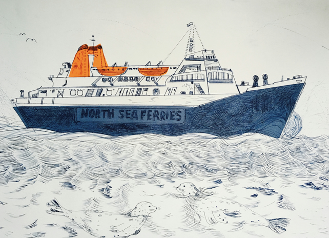North Sea Ferries - Drypoint print