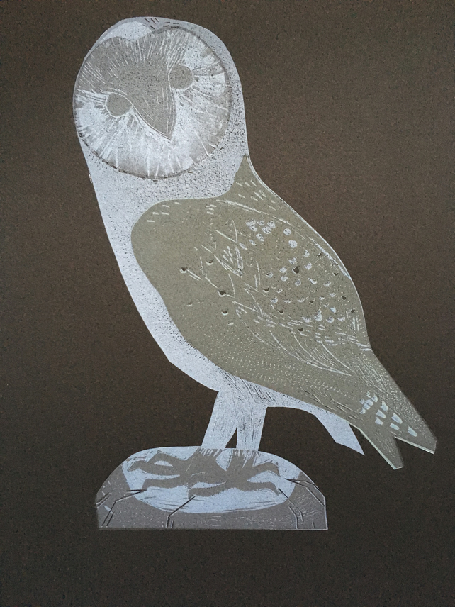 Night Barn Owl - lino cut