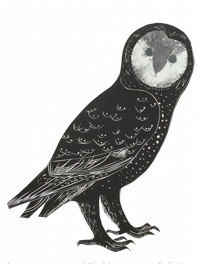 Little Owl - Lino Print