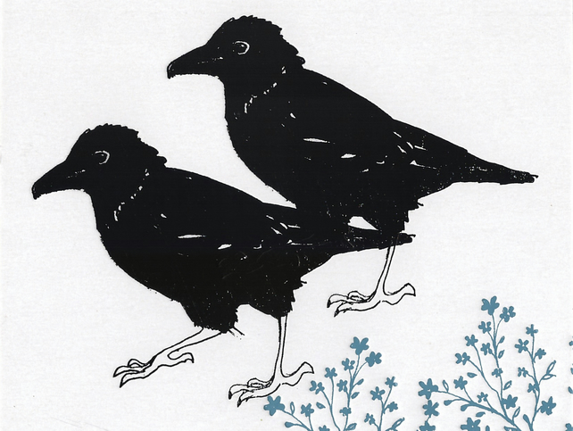 Crows - Greetings Card