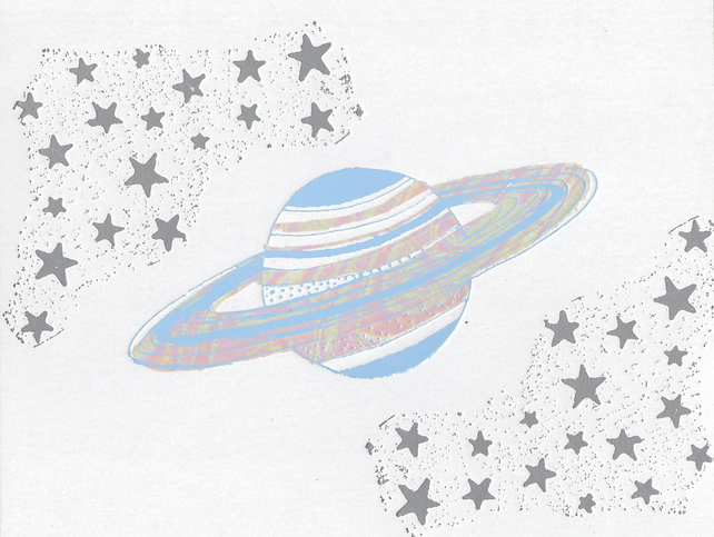 Saturn and Stars - Greetings Card