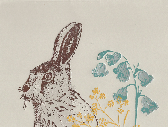 Hare and Bluebells Greetings Card