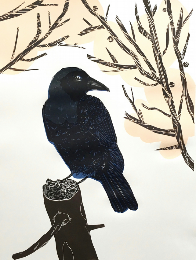 Carrion Crow Lino Cut