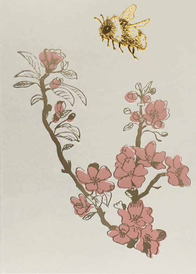 Bee and Blossom - greetings card