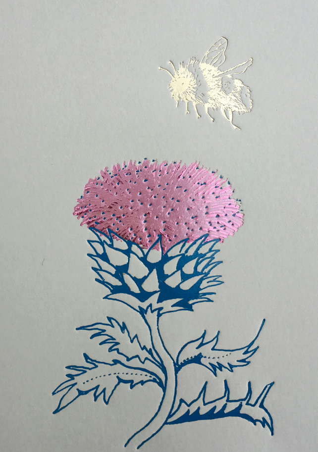 Thistle and Bee - Greetings Card
