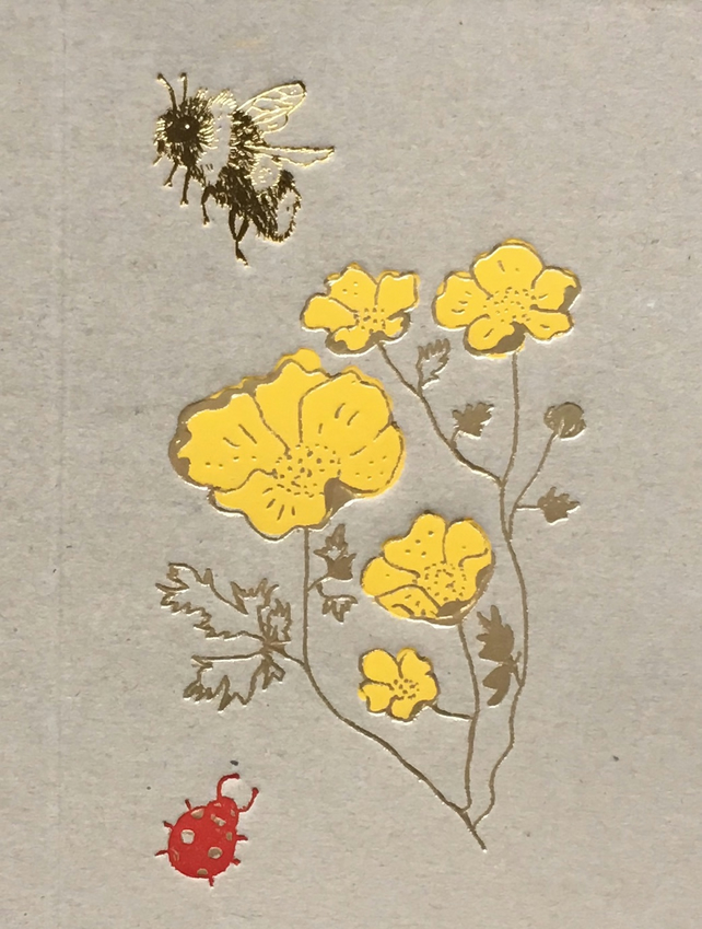 Buttercups and Bee Greetings Card