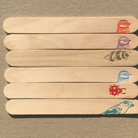 wooden plant labels x 6