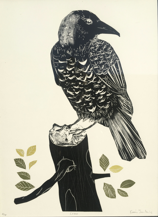 Crow on Leafy Stump - Lino Cut