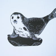 Lino Cut - Seal on a Rock