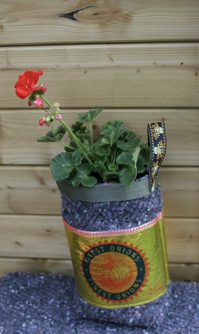 Recycled Onion Net Planter or Tidy lined with capillary matting