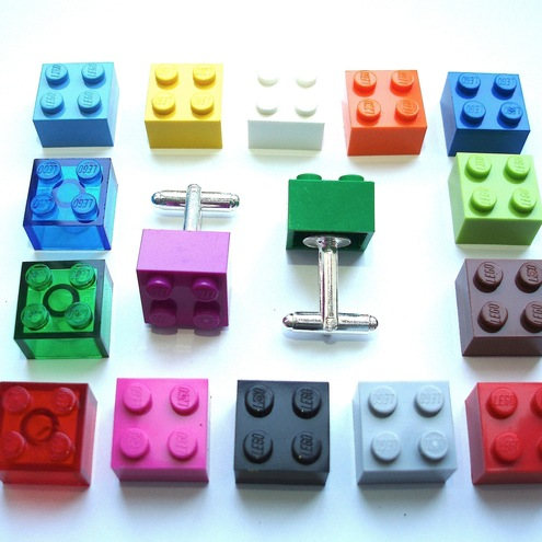 Pick your Favorite colour LEGO® Brick Cufflinks - silver plated