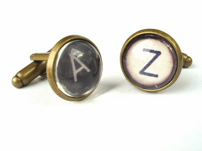 Typewriter Cufflinks - Vintage Style Typewriter Key cufflinks Black or Ivory