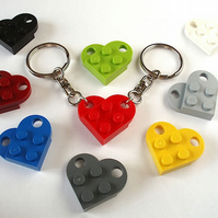 Love Heart Friendship Keyrings x2 Valentines Day Keyrings made with LEGO® plates